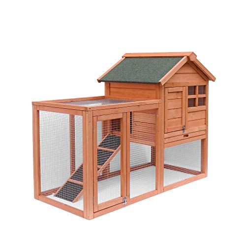 Rabbit Hutch, 2 Layer Wooden Rabbit Cage Hutch Backyard Bunny Cage Small Animal House with Ramp and Outdoor Run for...
