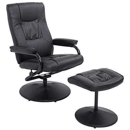 HOMCOM Executive Recliner Chair High Back Swivel Armchair Lounge Seat w/Footrest Stool (Black)
