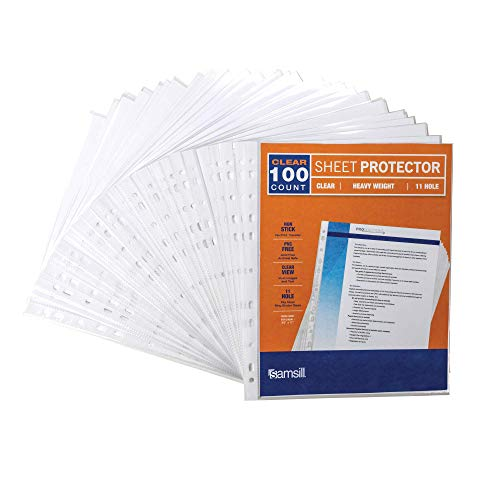 Samsill Heavyweight 11 Hole Clear Sheet Protectors/Acid Free Archival Safe/Polypropylene Sheet/Top Loading Sheet Protectors 8.5 x 11 inches/Box of 100 Page Protectors Bulk/Clear (Renewed)