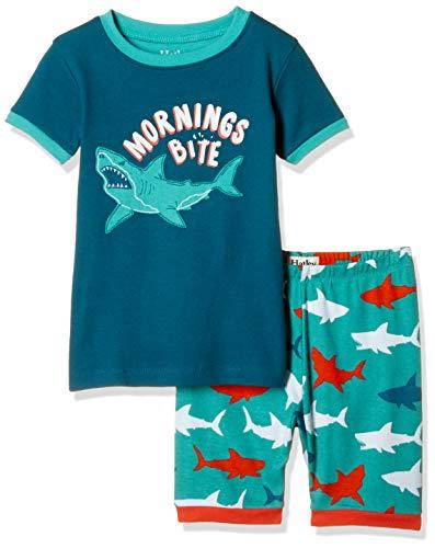 Hatley Organic Cotton Short Sleeve Appliqué Pyjama Sets Conjuntos de Pijama, Verde (Bluegreat White Shark 300), 3 años para Niños