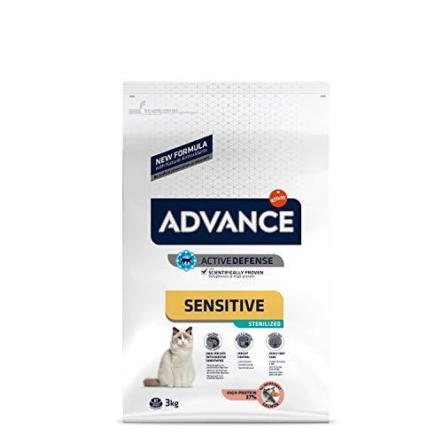 ADVANCE Sensitive Sterilized - Croquettes pour Chat Adulte avec des Sensibilités Digestives et Cutanées - Saumon et Orge - 3Kg
