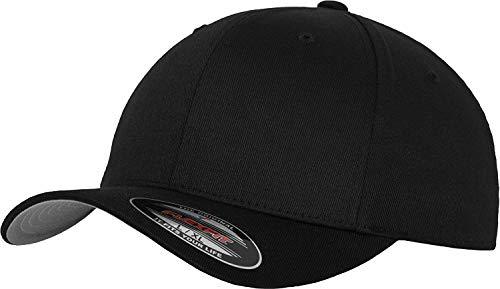 Flexfit Unisex Wooly Combed Unisex Kappe ohne Verschluss für Herren, Damen und Kinder Wooly Combed Baseball Cap, Black, S/M (Herstellergröße: S/M)
