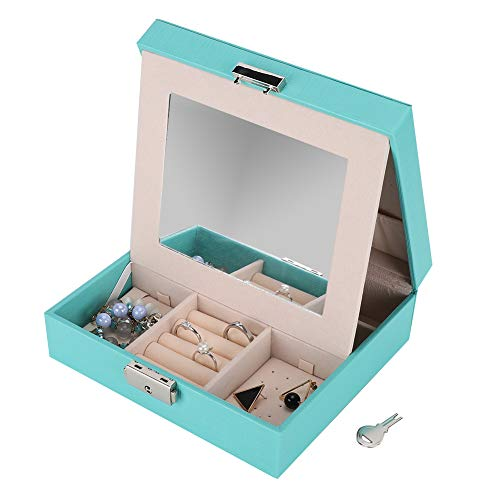 Da Dini Small Jewellery Box Organiser Jewelry Storage Case For Rings Earrings Necklace Bracelets Faux Leather Jewelry Gift Box Girls Women