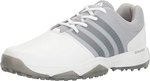 adidas Men's 360 Traxion Golf Shoe, WHITE/SILVER METALLIC, 10.5 M US
