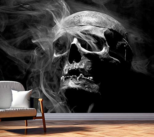 Vlies Tapete XXL Poster Fototapete Totenkopf Rauch Totenschädel Farbe schwarz weiß, Größe 140 x 100 cm