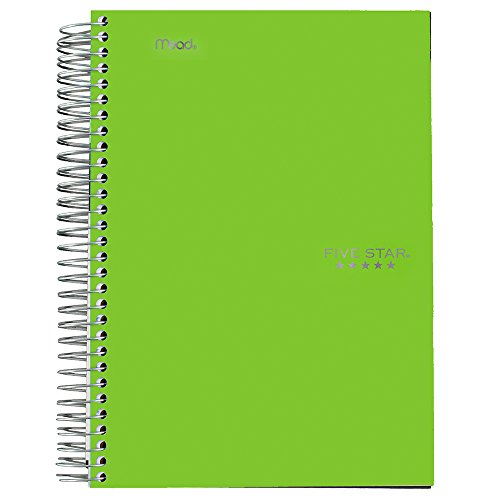 """Five Star Spiral Notebook, 1 Subject, College Ruled Paper, 100 Sheets, Colored Small Note Book, Lined Paper, Home School Supplies for College Students & K-12, 7"""" x 5"""", Personal Size, Lime (73964)"""