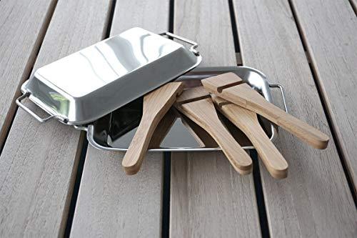 IOE-International Outdoor Experts GmbH Grillpfännchen-Set mit Bambus-Schabern Raclette Pfanne Grill BBQ Fondue Geschenk