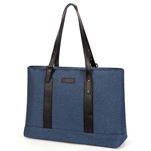 Utotebag Women Laptop Tote Bag, 15.6 Inch Notebook Ultrabook Shoulder Bag Lightweight Nylon Briefcase Classic Handbag Handle Adjustable Work Travel Business Bag (Blue)
