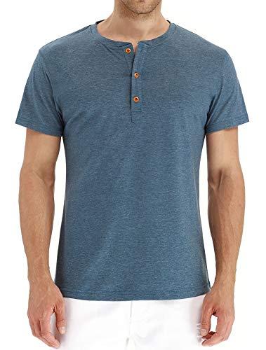 CLANMILUMS Men's Casual Front Placket Basic Short Sleeve Henley T-Shirts (Medium, Blue)