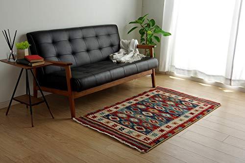 イケヒコ ラグ カーペット プルメリア マット モルドバ ウィルトン 織り 畳める 約80×130cm ネイビー へたりにくい エスニック #2352209