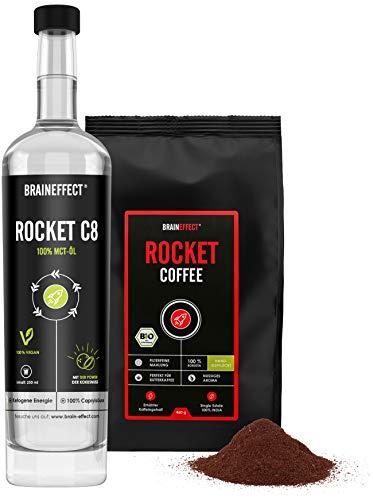 BRAINEFFECT ROCKET KIT - Bulletproof Set - 460g ROCKET COFFEE in BIO-Qualität & 500ml C8 MCT-Öl - Hochwertige Caprylsäure abgestimmt mit erhöhtem Koffeingehalt - Vegan
