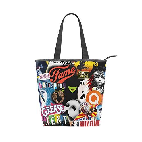 Broadway Musical Tote Bag Gifts for Women Teen Girls Canvas Theater Bag Zipper Shoulder Handbag