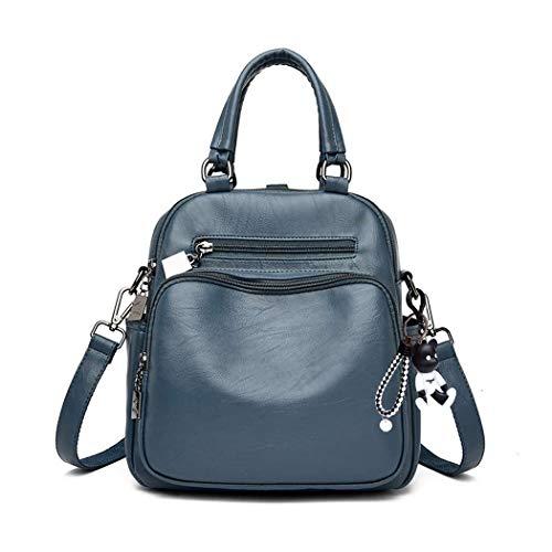 BUKESIYI Damen Tasche Rucksack Handtasche Frauen backpack Klein Anti Diebstahl Schulrucksack Laptop Weekender PU Leder CCDE78148 Blau