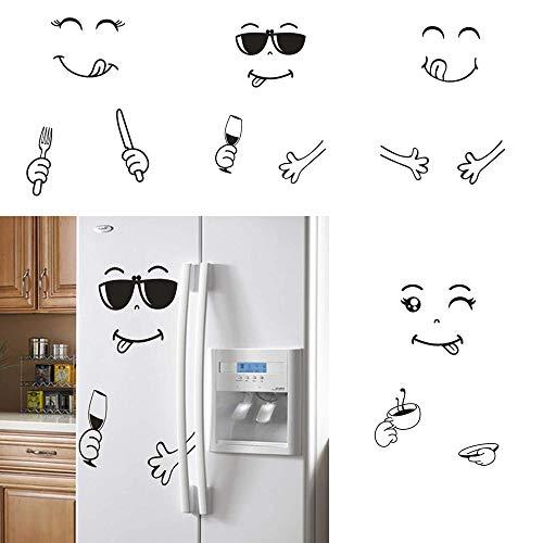 Mein HERZ 4 Stück Kühlschrank-Aufkleber Sticker, Niedlich Aufkleber Kühlschrank, Glücklich Lecker Gesicht Küche Kühlschrank Wand Kühlschrank Vinyl Aufkleber Kunst Wandtattoo Home Decor