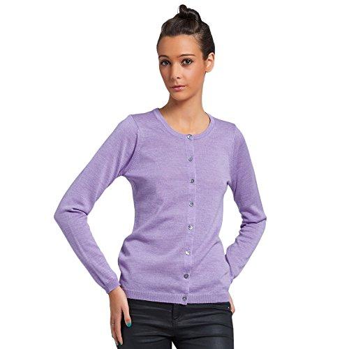 Cardigan Vest met ronde hals voor dames 100% extrafijne merino Kleur paars