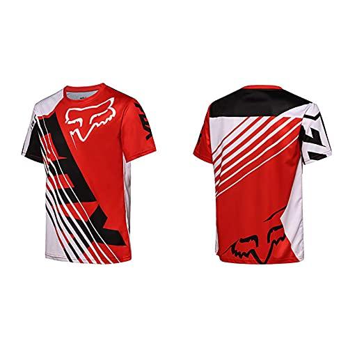 Whittie Fox Camisa de Bicicleta de Descenso Fuchs Head Jersey Camisa de Manga Corta Traje de Carreras de Secado Rápido y Transpirable Ropa de Motocicleta para Bicicletas al Aire Libre,