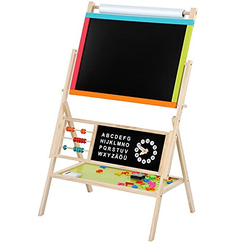 Tbaobei-Baby Pizarra todo en uno multifunción infantil de formación artística de madera con accesorios con pizarra / tiza de colores para carteles de cocina ligeros