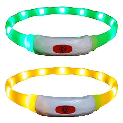 Vegena 2 × LED Dog Collare, 65 CM Ultra Collare Luminoso per Cani Ricaricabile USB Misura Regolabile con 3 Modalità d'ardore per Tutti i Cani Gatti