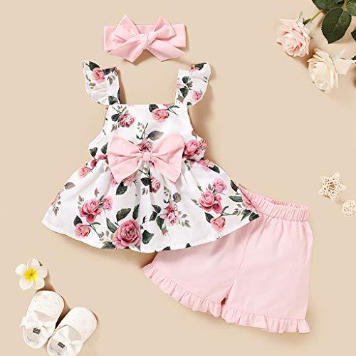 Janly Clearance Sale Conjunto de pantalones para bebés de 0 a 3 años, sin mangas, con estampado floral y pantalones cortos con volantes para bebés de 6 a 12 meses (rosa)