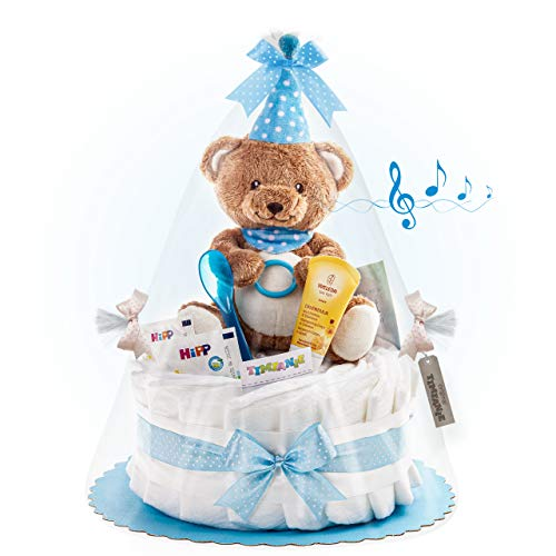 Timfanie® Windeltorte | Spieluhr LiebhabBÄR | 1-stöckig | blau-punkt | Windeln Gr. 3 (Baby 6-10 Kg)