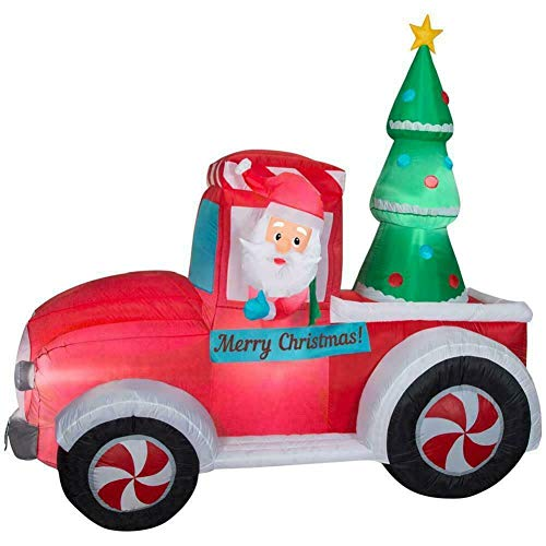 Home Accents 7 FT. LED Santa Vintage Truck W/Tree Indoor/Outdoor USE Christmas Inflatable