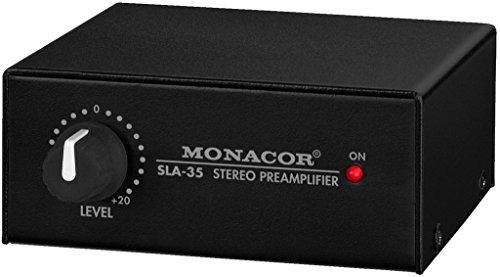 MONACOR SLA-35 Stereo-Pegel und Impedanzwandler in Schwarz, Wandler mit Cinch- und Klinken-Anschluss