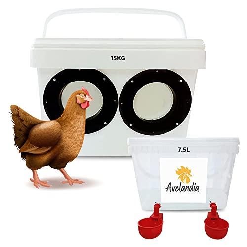 AVELANDIA Comedero para gallinas y Pollos Grande antidespilfarro 15kg + Bebedero 7.5 litros de Regalo: Sistema antilluvia y antidesperdicio. Aprovecha el 100% del pienso (Negro 2 Puertos)