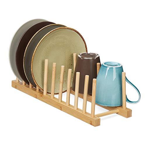 Relaxdays Tellerständer, für 10 Teller, Schneidebretter, Topfdeckel, Abtropfgestell Geschirr, Bretthalter Bambus, natur