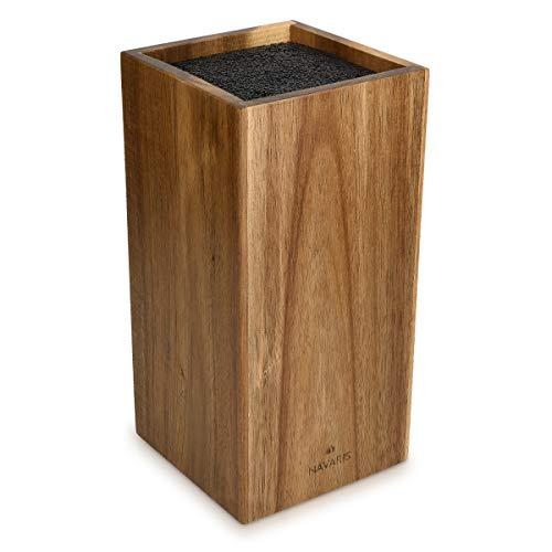 Navaris Messerblock aus Akazienholz mit Borsteneinsatz - Messer Block unbestückt aus Holz - universal für Küchenmesser Kochmesser Kochbesteck
