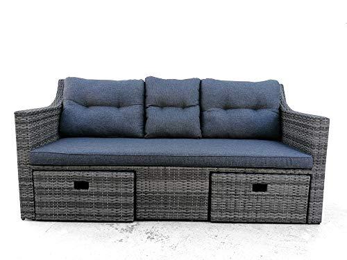 Sofa Exterior MULTIFUNICONES para Jardin o Terraza con 2 Pouffs y Apoyabrazos, Ratan Sintetico y Estructura de Aluminio, Gris, Cojines Incluidos