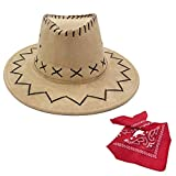 Yosang Sombrero de vaquero Texas – marrón para niños, imitación de ante occidental, disfraz de vaquero, disfraz de carnaval, beige, Talla única
