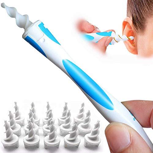 Q-Grip Ohrenschmalz-Entferner, Upgraded Spiral Tupfer Ohrenschmalz-Entferner Kit Ohrenreiniger mit 16 Ersatzköpfe, sichere Ohrenschmalz-Entfernung Werkzeug für Erwachsene & Kinder