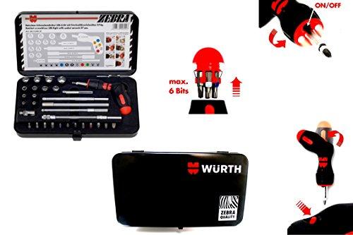 Würth Schroevendraaier LED pistoolgreep magazijn ratel ratel ratel doos 37 stuks Magazijnschroevendraaier 061364037