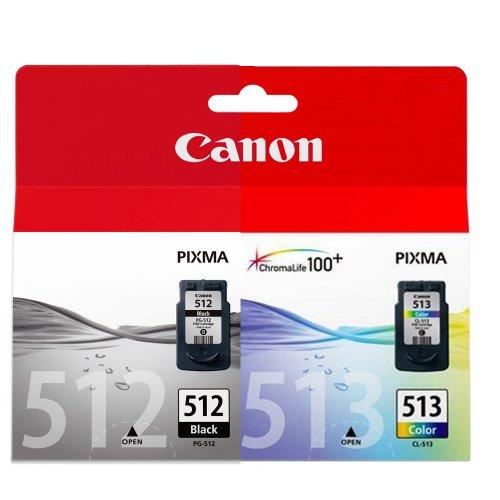 1x Canon Tintenpatrone Doppelpack (Pack enthält 1 x Schwarz PG-512, 1x Farbig CL513)