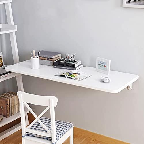 J-Love Escritorio Pared Blanco Mesa Plegable Estación Trabajo para computadora Cocina Flotante Mesa Comedor Ahorro Espacio Oficina en casa Dormitorio Colgante Mesa Plegable con Hoja abatible