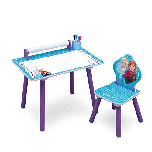Disney Frozen Art Desk with Dry-Erase Tabletop and Color Book Paper Roll, Elsa and Anna