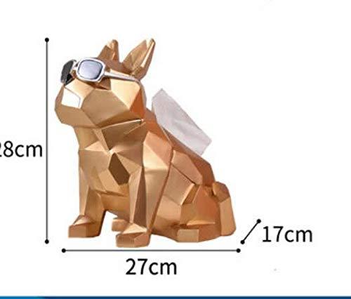 DAJIADS Beeldje Beeldjes Beeldjes Beeldje Beeldjes Sculpturen Boeddha, Plezier Bulldog Draag Zonnebrillen Hars Decoratie Sculptuur Geometrische Kunst Cool Hond Thuis Craft Decoratie Goud