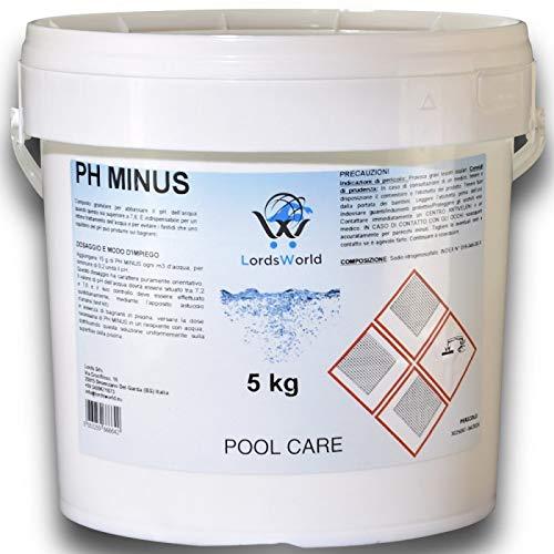 LordsWorld Pool Care - 5 kg Ph Minus Reducer Korrektor Ph- Granular - Corrector Ph - Granular Reducer Ph weniger für Wasser im Pool und Spa pflegen - PH-MINUS-5kg