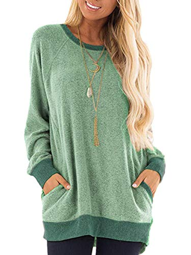 Voopptaw Damen Beiläufig Pullover Hoodies Farbblock Lange Ärmel Shirt Hooded Wasserfallausschnitt Sweatshirts(Grün,Large)