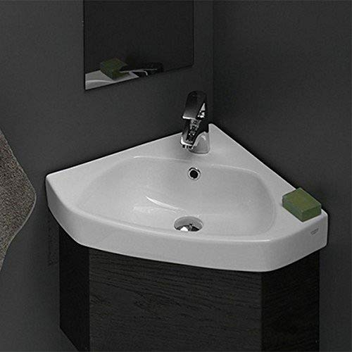 CeraStyle 001900-U-One Hole Arda Corner Ceramic Self Rimming/Wall Mounted Bathroom Sink, White