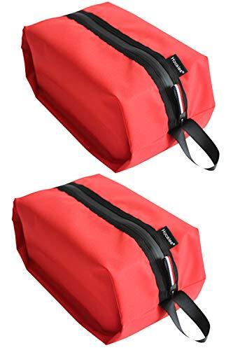 Hocaies Schuhtaschen 2er Set Wasserfeste Schuhbeutel Leichte und haltbare Nylon Schuhbeutel mit Reißverschluss Geeignet für Reise und Urlaubs zum Trennen von Sportschuhe und Kleidung. (Rot)