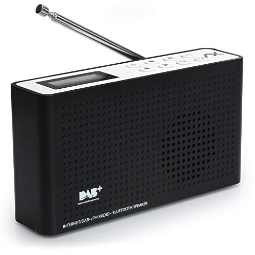 Anadol AX 4in1 soundpath lite+ Internet Radio/DAB+ / FM-UKW/Bluetooth Lautsprecher WLAN WiFi, DLNA, UPnP, tragbar, LCD-Display, Sleep-Timer, Akku, Netzbetrieb, Kopfhöreranschluss, schwarz weiß