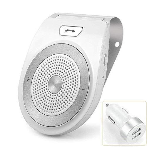 Aigital Manos Libres para Coche Kit Bluetooth Altavoz Inalámbrico con Siri y Asistente Google Auto Encendido Apagado Soporta GPS, Música, Llamadas, Conectividad de Doble Enlace Reducción de Eco