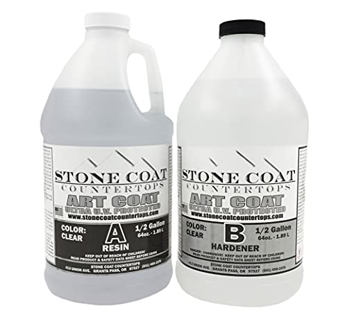 Art Coat 1 Gallon Epoxy Kit (Stone Coat Countertops) – Colorable DIY Art Resin Epoxy with Added UV Inhibitors and Heat Resistance for Coating Surfaces with Unique Designs!