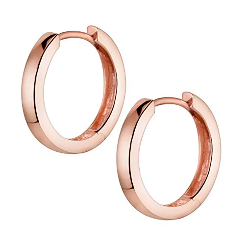 MATERIA Ohrringe Creolen Rosegold Damen - Kreolen Silber 925 rose gold vergoldet 17mm klein mit Box SO-358-Rose