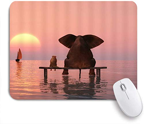 Benutzerdefiniertes Büro Mauspad,Elefantenhund Holzbank Sonnenuntergang Ozean Meer Segelboot Freund Kreatives Tier,Anti-Slip Rubber Base Gaming Mouse Pad Mat