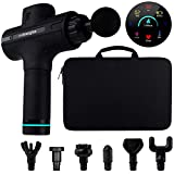 Handheld Deep Tissue Percussion Massage Gun for Muscle Relaxation & Pain Relief - Ultra Quiet with Long Battery Life & 7 Percussive Massage Heads - Measures Body Temp & Heart Rate - 9 Speed Vibration