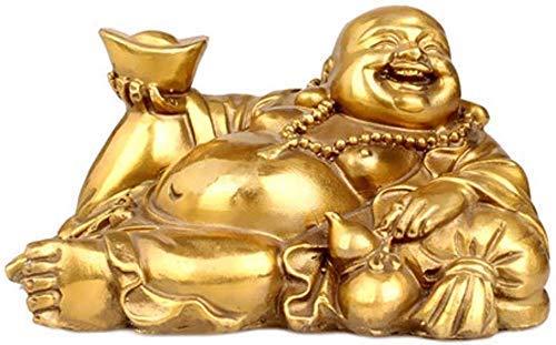 DFJU Ornamentos chineses chineses Decoração Cobre Puro deitar Estátuas do Buda Risonho, para casa e escritório, atraem Riqueza e Boa sorte, presentes de felicitações, artesanato enfeite de artesanato