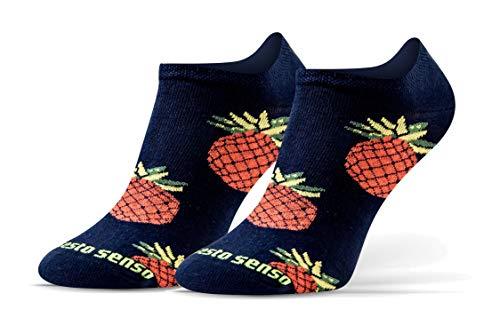 Sesto Senso Lustige Sneaker Socken Baumwolle Bunte Füßlinge Damen Herren 1-3 Paar Funny Socks 35-38 Ananas