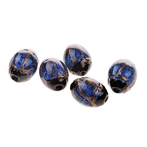 MagiDeal 5 Stück Oval Handgemachte Lampwork Perlen Schmucksteine Edelsteine Steinperlen Perlen Schmuck Machen - Blau